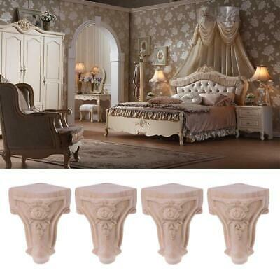 AU21.39 • Buy  Wooden Furniture Legs Solid Wood Flower Carved TV Cabinet Seat Feet No Painting