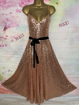 AU14.41 • Buy Bnwt Forever Unique Rose Gold Sequins  Stretchy Christmas Party Dress Size 14