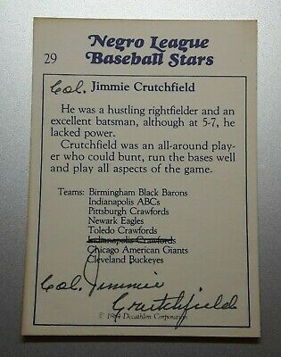 AU7.32 • Buy Crawfords Black Barons Col Jimmie Crutchfield Hand Signed Card Negro League Auto