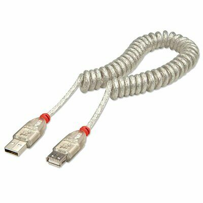AU9.18 • Buy Lindy 31927 USB 2.0 Coiled Extension Cable Type A To Type A - Min 20cm To Max 2M