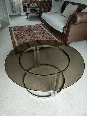 AU695.43 • Buy A 1960s Smoked Glass And Chrome Coffee Table