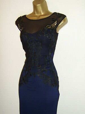 £34.99 • Buy Lipsy Fab Navy Blue Black Lace Design Evening Party Occasion Maxi Dress Size 14
