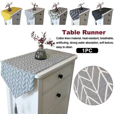 AU15.16 • Buy Dining Room Cotton Linen With Tassels Home Decor Geometric Table Runner Hotel