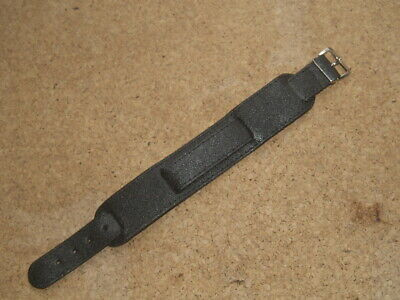 £10.99 • Buy 18mm BLACK LEATHER PULL THROUGH CUFF MILITARY STYLE WATCH STRAP