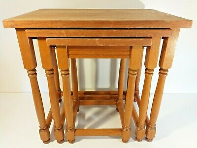 £54.99 • Buy Vintage Solid Pine Nest Of 3 Wooden Coffee Tables