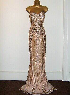 £89.99 • Buy Stunning Gold Sequin Evening Party Occasion Maxi Dress Size 12 New