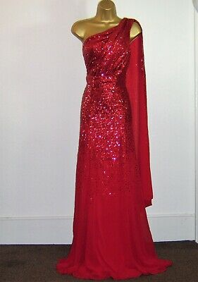 £69.99 • Buy Gorgeous Red Sequin Maxi Evening Party Occasion Dress Size 12 New