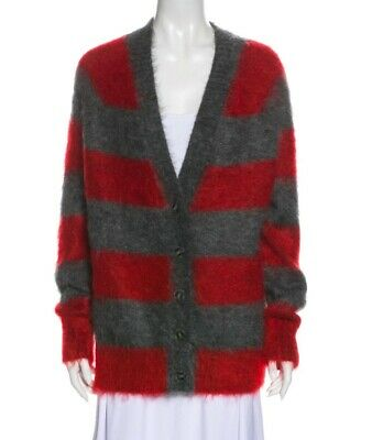 AU130 • Buy T By Alexander Wang Red Grey Stripe Mohair Cardigan Size Small