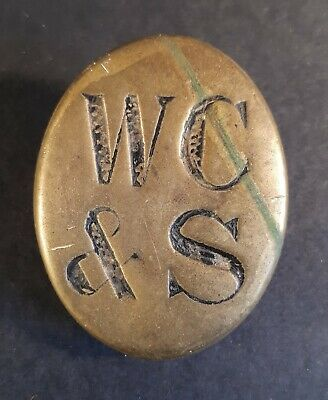 £10 • Buy Antique Brass 'WC & S' Door-Mounted Sign. For Railway Carriage Toilet. SE & CR