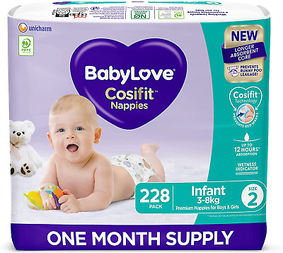 AU101.92 • Buy Babylove Cosifit Nappies, Size 2 (3-8Kg) One Month Supply (3 Packs Of 76, 228 Na