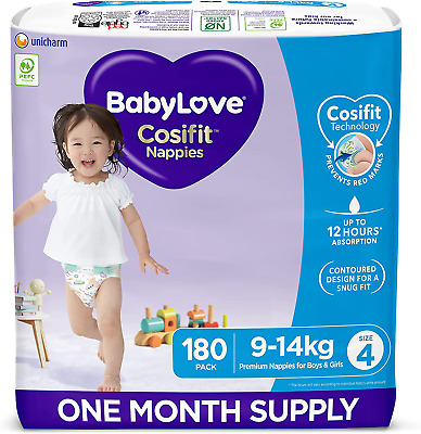 AU115.77 • Buy Babylove Cosifit Nappies, Size 4 (9-14Kg) One Month Supply (3 Packs Of 60, 180 N