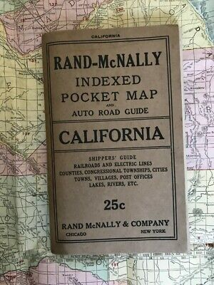 £7 • Buy THE RAND McNALLY NEW COMMERCIAL ATLAS MAP OF CALIFORNIA & AUTO ROAD GUIDE 1918