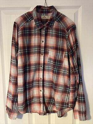 £5 • Buy Hollister Pink And Blue Checked Shirt Size M