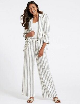 £13 • Buy M&S Ivory Mix Linen Striped Wide Leg Trousers Size 10