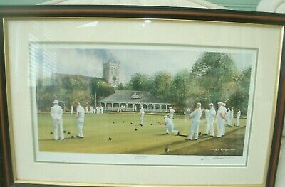 £10 • Buy FRAMED SUNDAY BOWLS. By TERRY HARRISON  SIGNED IN PENCIL BY THE ARTIST PRINT