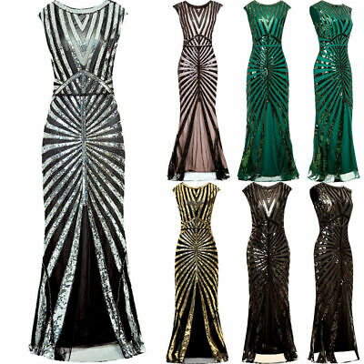 £37.06 • Buy Vintage 1920s Flapper Dress Great Gatsby PROM Party Sequin Maxi Fancy Dresses UK