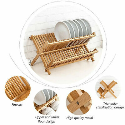 £11.95 • Buy Wooden Dish Drainer Kitchen Plates Rack Stand Cutlery Utensil Holder Drying Rack