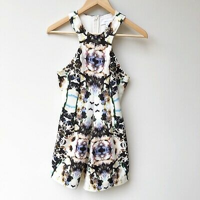AU25 • Buy Finders Keepers S 8 Abstract Floral Print Playsuit High Neck Racer Back