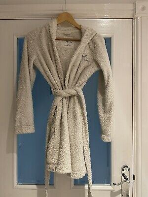 AU1.82 • Buy Girls Womens HOLLISTER Cream Dressing Gown Hooded Robe XS-S