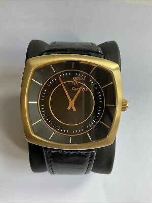 AU55.09 • Buy Replay BOLD Men's Watch Quartz Wrist Coupe GOLD And BLACK Leather Watchband