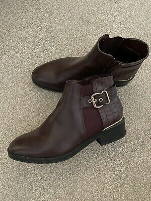 £7.99 • Buy Womens New Look Boots Burgundy Flat Size 7 Hardly Worn Great Condition