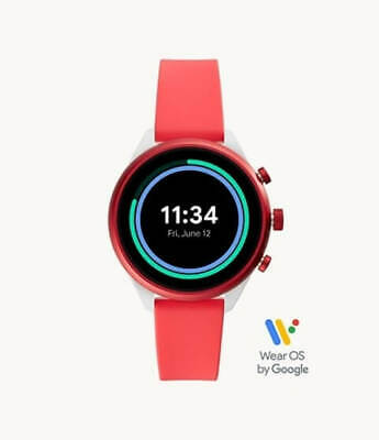 AU199 • Buy Fossil Sport Smartwatch Silver/Red Silicone (FTW6027)