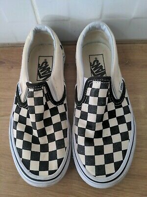 £5 • Buy VANS CLASSIC SLIP ON WHITE BLACK CHECKERBOARD CANVAS TRAINERS Size 3 Adults