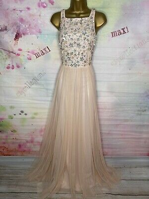AU27.40 • Buy Bnwt Monsoon Full Length Nude Maxi Gown Sequined Party Dress Size 14
