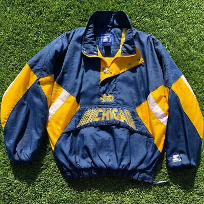 £14.67 • Buy VTG 90s Starter Michigan Wolverines Puffy Pullover Jacket Coat Fits L/XL