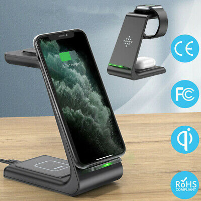 AU41.89 • Buy Wireless Charging Station Dock Charger Stand For AirPods Apple IPhone Watch 3in1