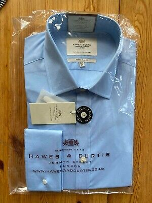 £4.30 • Buy BRAND NEW Hawes & Curtis Men's Blue Formal Shirt Size 15.5 Slim Fit Double Cuff