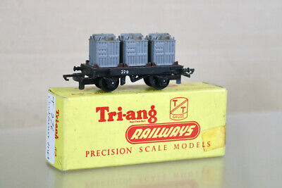 £19.50 • Buy TRIANG T276 TT GAUGE BR BLACK CONFLAT WAGON 229 With CONTAINER LOAD