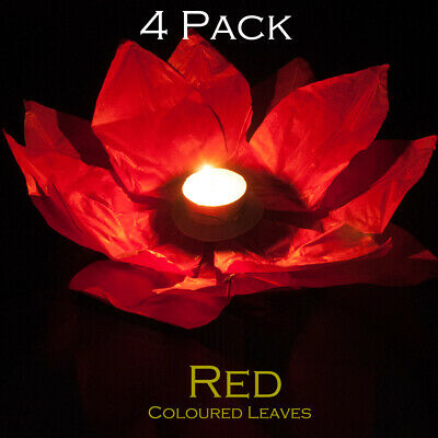 4 X Red Chinese Garden Or Water/pond Reusable Lanterns • 5.99£