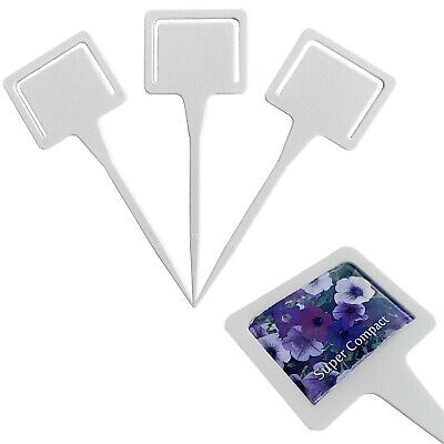 50 X White Plastic Plant T Labels With Seed Packet Holder • 6.93£