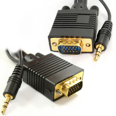 1m Laptop To LCD HD TV VGA Cable With Jack Audio Lead • 3.24£