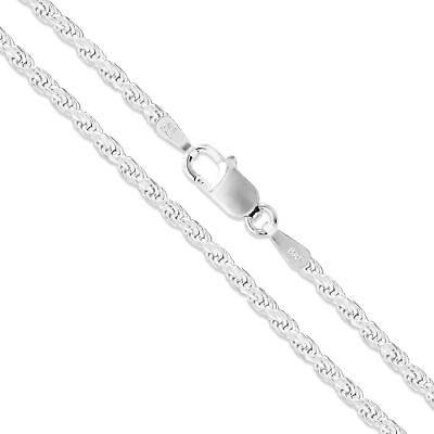 $12.79 • Buy Sterling Silver Necklace Diamond-Cut Rope Chain 2mm 925