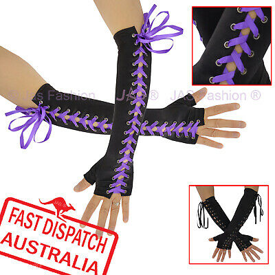 AU12.97 • Buy 80s Fingerless Goth Gothic Punk Satin Corset Cuff Gloves Black Or Purple Ribbon