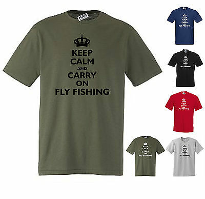 NEW KEEP CALM AND CARRY ON FLY FISHING FUNNY T-SHIRT Small To 5XL  • 11.95£