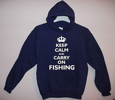 New Adult Navy Hoody 'keep Calm And Carry On Fishing' S/m/l/xl/xxl  • 21.95£
