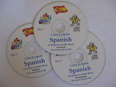 Learn To Speak SPANISH A Complete Mp3 & PDF Course Of 90+ Lessons - 3 Mp3 CDs • 3.25£