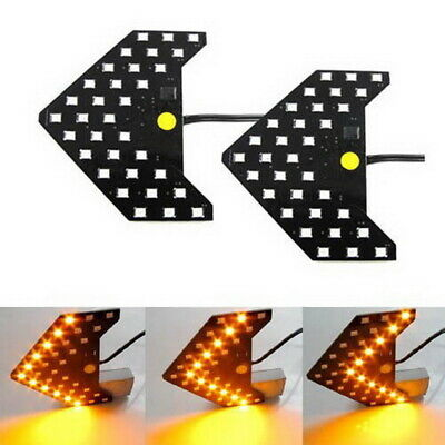 $14.55 • Buy (2) Amber 33-SMD Sequential LED Arrows For Car Side Mirror Turn Signal Lights