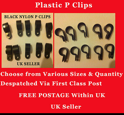 £2.89 • Buy Black Nylon Plastic P Clips Fasteners For Cable, Conduit, Tubing, Pipe Sleeving
