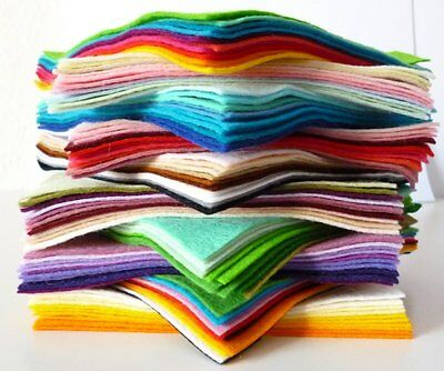 6  Square COLOUR PACKs (10 Pieces)  Premium Wool Blend Felt, 40% Wool • 4£