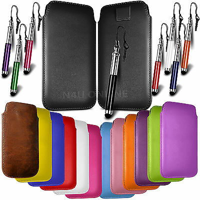 Leather Pull Tab Skin Case Cover Pouch & Stylus For Various Mobilephones • 2.79£