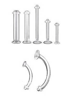 Clear Retainer With O Ring - Choose:  Lip Labret Tragus Tongue Belly Eyebrow • 1.65£