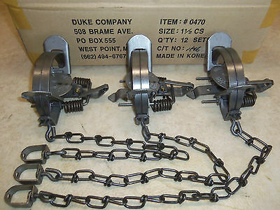 $28.45 • Buy 3 New Duke # 1 1/2 Coil Spring Traps 0470 Raccoon Fox Nutria Muskrat Trapping