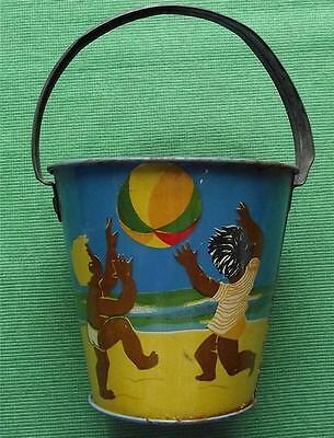 C1950  Tinplate Seaside Sand Pail Bucket With Brown Children Playing On Beach • 100£