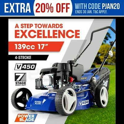 AU269 • Buy POWERBLADE 17  Lawn Mower 139cc Petrol Powered 4 Stroke Steel Lawnmower Push
