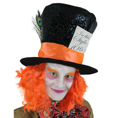 £7.99 • Buy Mad Hatter Top Hat With Hair Book Week Character Fancy Dress Costume Accessory