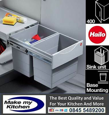 £133.99 • Buy Hailo 36ltr Space Saving Tandem Recycling Waste Bin For 400mm Kitchen Unit